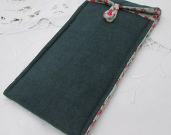 Glasses case, sunglasses case, spectacles holder, fabric pouch green mint retro