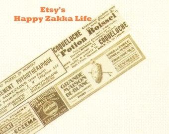 Japanese Washi Masking Tape - Old Newspaper Advertisment - 20mm - 11 Yards