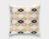 Aztec Decorative Throw Pillow Cover. Navy, Mint, Peach, Goldenrod Yellow Southwestern Kilim Triangles. Zipper or Envelope Arizona