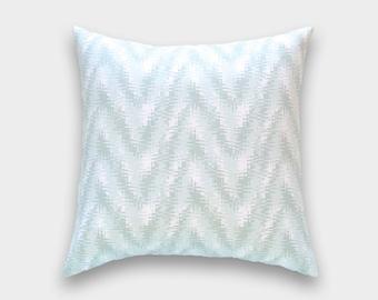 CLEARANCE Artichoke Green Chevron Throw Pillow Cover. 16X16 Inches. Pale Green Rhodes