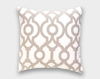 Ecru Taupe Tan Lyon Pillow Cover. Choose from 12 Sizes. Tan Trellis Geometric Cushion Cover.