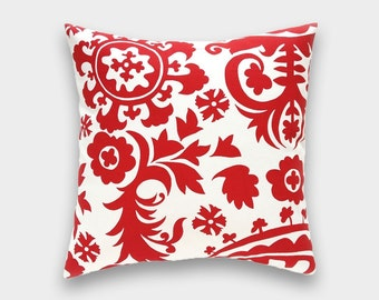 Clearance 50% Off Red Suzani Throw Pillow Cover. Lipstick Red Decorative Cushion Cover 18x18 Inches. Floral Suzani