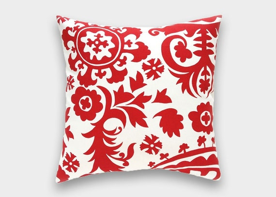 Throw Pillows In Clearance : Clearance 50% Off Red Suzani Throw Pillow Cover. Lipstick Red