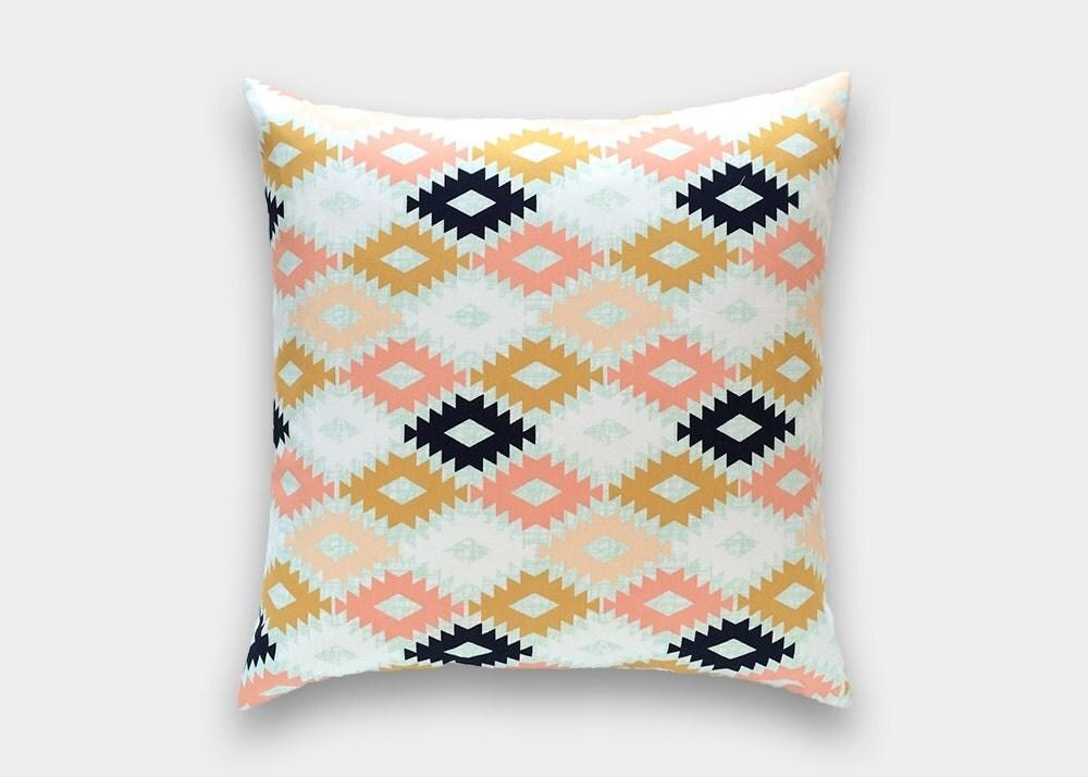 Modern Aztec Pillows : Aztec Decorative Throw Pillow Cover. Navy Mint Peach