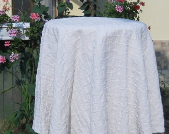 Round Natural White Tablecloth, Checkered Cotton Lace Wrinkled Table Cloth,  Cotton Canvas Prewashed Cover