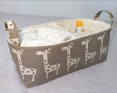 "Long Diaper Caddy 16""x6""x7"" with Divider, Fabric Storage Bin Natural Giraffe on Taupe with Natural Lining"