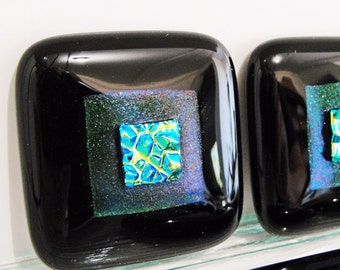 Knobs Dichroic Fused Glass Cabinet Knobs Green Gold Black Home Decor Jewelry Drawers Kitchen Bathroom Furniture Cupboards Closet Handles