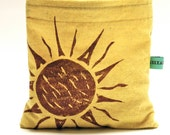 Reusable Snack Bag - Reusable Sandwich Bag - Hand Dyed Hand Printed Sun