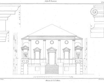1842 Architectural Print Main Facade of Villa Molin by  Scamozzi,  Plate 81