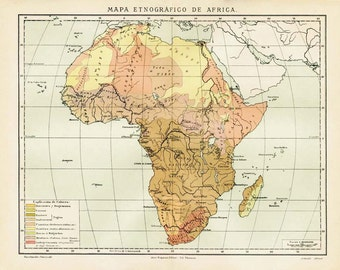 1920s Ethnographic Map Of Africa, Vintage Map