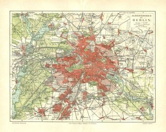 Vintage City Map of Berlin and Environs, 1920s Germany