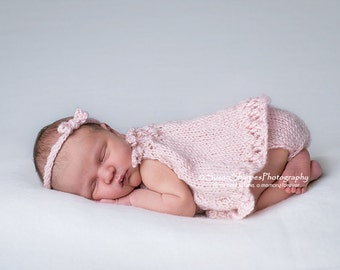 PDF Knitting Pattern - newborn photography prop_ honeycomb swing dress and bloomers SET #136