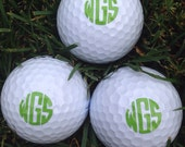 Monogrammed/Personalized Golf Balls set of 3