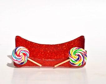 Lollipop glitter business card holder.  Candy store.  Candy Shop.  Sweet Shop.  Red Glitter.  Lollipops.  Candy.  Candies.
