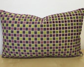 ACCENT plum purple & apple green RECTANGLE LUMBER multi square velvet cushion cover, Osborne and Little fabric, cushion cover pillow sham
