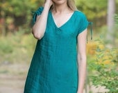Pure Linen Dress With Drawn-Stringed Shoulders