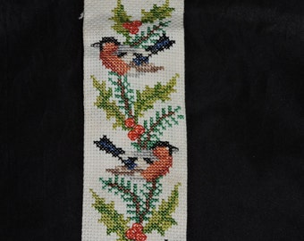 Vintage Song Birds in a Tree Cross Stitch Wall Hanging Bell Bottom Aida Decoration Ornament Door Hanger