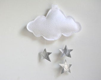 Personalised Cloud and Stars Baby Crib Mobile - Silver