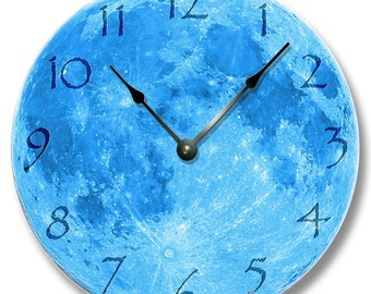 """10.5"""" Wall Clock - BLUE MOON pattern wall CLOCK - celestial home decor - harvest and yellow moon also"""