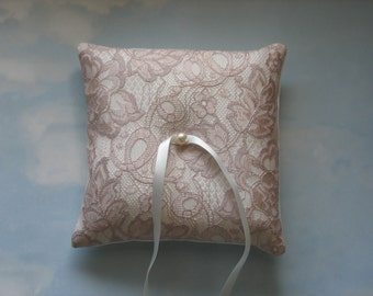 SALE * REDUCED PRICE * Ring pillow. Rose gold and ivory wedding ring cushion.