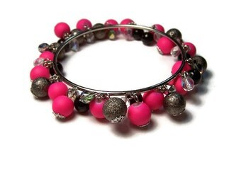 CLEARANCE...Hot Pink Cluster Bangle