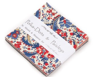 """Moda Charm pack POLKA DOTS & PAISLEYS from Polly Minick and Laurie Simpson 42 5"""" squares cotton fabric floral"""