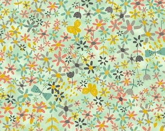 BLOOM multi colored flowers floral on aqua by Quilting Treasures 100% cotton quilt fabric 23931E