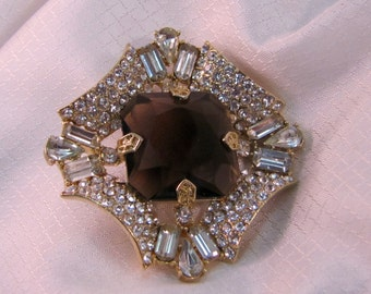 Vintage c1980's High Fashion Costume Brooch Smokey Topaz Glass and Crystal Brooch