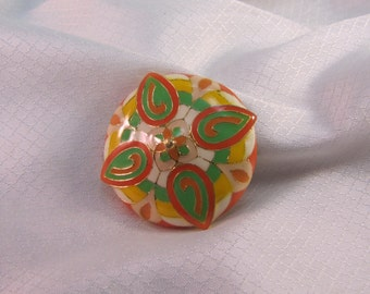 Statement 1980's Art Deco Reproduction Geometric Dome Brooch