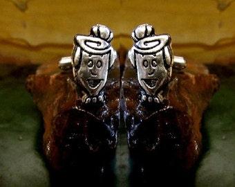 Wilma Flintstone Cufflinks Sterling Silver Free Domestic Shipping