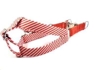 Dog Harness, RED STRIPES, Handmade Dog Harness, Dog Step in Harness, Step in Dog Harness
