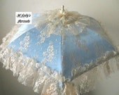 VICTORIAN PARASOL Umbrella in Your Choice Color Satin and Delicate Chantilly Lace Overlay with Self Ruffle Bridal Civil War Flower Girl Prom