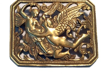 Vintage art nouveau style gold pin brooch with angel cupid and lady