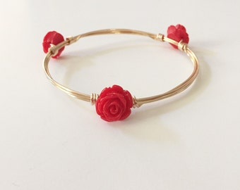 Red Rose Wire Wrapped Bangle Bracelet
