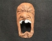 Furious Ceramic Face Wall Sculpture /Small/