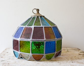 Vintage Tiffany Style Lamp Glass Shade Light Pendant Stained Glass Colorful Lamp Swag Leaded Boho