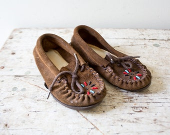 Vintage Moccasins - Children Shoes Kids Moccasins Sure Step Panco Beaded Suede Leather