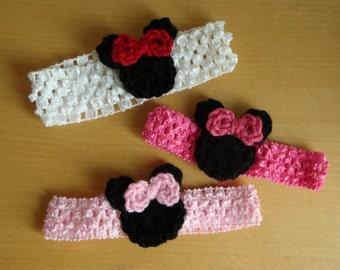 Minnie Headband for Baby Girl, Baby Crochet Headband, Pink or Red, Photo Prop