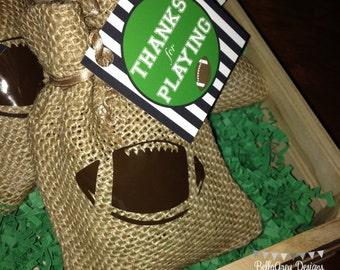 Football, Down Set Hut, Sports Theme, Birthday Party Favor Tag
