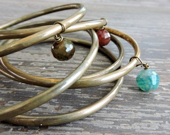Stackable Brass Bracelets: Crackle Agate Beads, Multi-Color Beaded Indian Jewelry, Boho Colorful Gypsy Bangles, Set of 6, From India