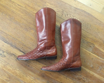 8 Woven Leather Boots / Vintage Brown Leather Boots / Women's Size  European 38 1/2