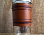 24oz Travel Mug | Hand Tooled Leather | Borders | Light Brown