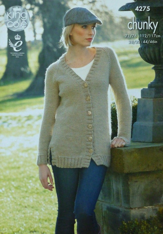 53eee7288 Womens Knitting Pattern K4275 Ladies Long Sleeve V-Neck Long Jumper  Knitting Pattern Chunky (Bulky) King Cole