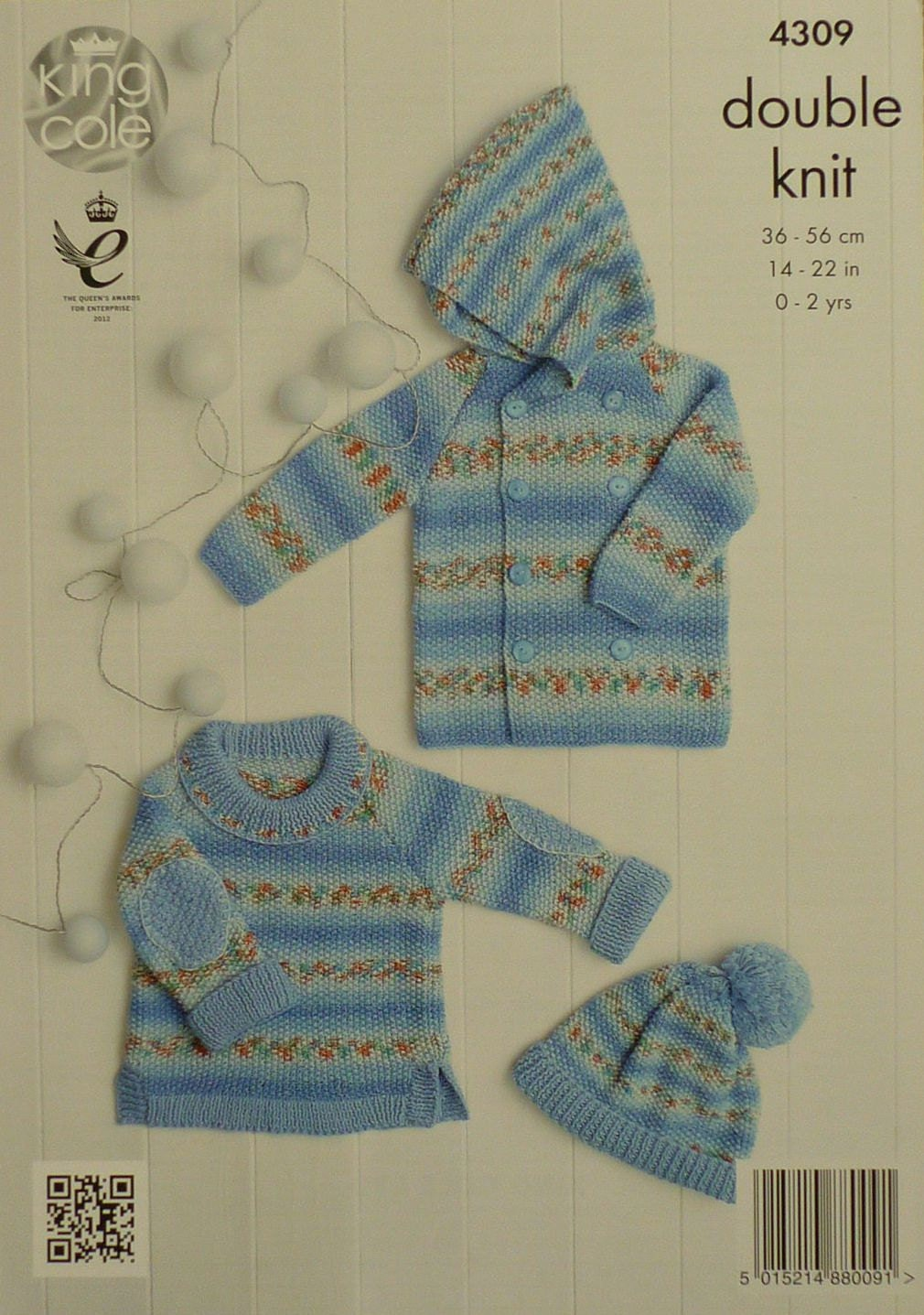 Baby Knitting Pattern K4309 Babies Moss Stitch Hooded Coat, Jumper and Bobble...