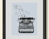 Vintage Typewriter and Birds Poster Print Hand Drawn Illustration Art Giclee Freedom of Speech Home Dorm Room Office Decor