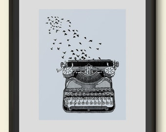 Vintage Typewriter Birds Art Print Poster Hand Drawn Illustration Giclee Freedom of Speech Home Dorm Room Office Decor