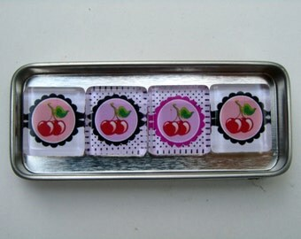 Colorful Cherries Magnets, Magnet Set with Storage Tin