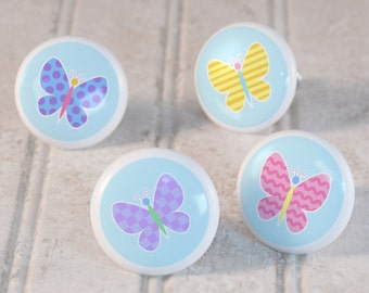 Kids Butterfly Garden Drawer Knobs, Ceramic Drawer Knobs, Decorative Knobs (Singles and Sets of 4), Bedroom Decor, Butterfly Nursery Decor