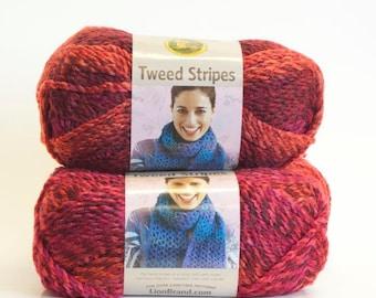 LION BRAND Tweed Stripes Mixed Berries Yarn