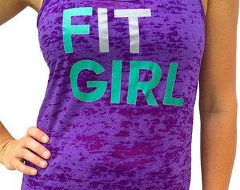 SoRock Women's Fit Girl Purple Burnout Tank